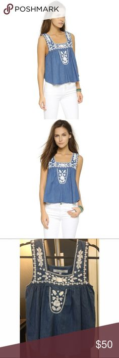 Perfection Lovers + Friends! Denim tank! Easy summer top with white embroidery. Never worn. Perfect condition. Great for a 0-2. Pair with white, nude, or black or try a denim with denim look. Lovers + Friends Tops Tank Tops
