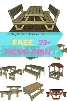 You can choose from more than 25 picnic table idea Folding Picnic Table Plans, Picnic Table Bench, Wooden Picnic Tables, Woodworking Plans, Woodworking Projects, Outside Benches, Wooden Playhouse, Diy Shed, Diy Bench