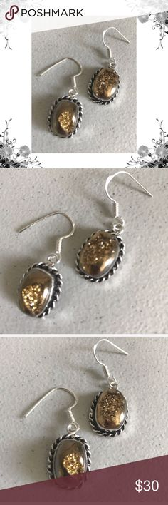 "Sparkling Geode Silver Plated Earrings Bronze composite metal with silver overlay. Approx 1 1/2"" in length including hook. Handmade and one of a kind. Perfect addition to your Boho jewelry collection. Bundle for discounts! Thank you for shopping my closet! Jewelry Earrings"
