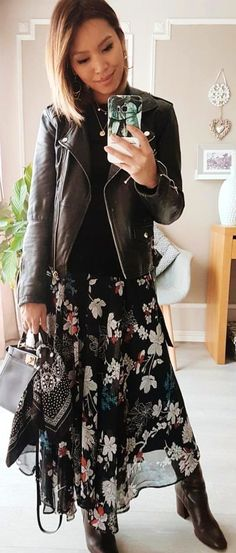 #winter #outfits  gray and black floral dress with black leather jacket. Pic by @eninad42.