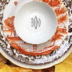 Decorate your tablescapes this fall with festive dinnerware. Choose from 5 colors and 3 fonts at https://www.sashanicholas.com/shop-all/weave-monogrammed-petite-bowl/ | Thanksgiving Entertaining Ideas | Dinnerware | Tablescapes | China