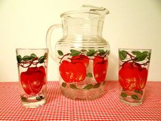 Vintage Mid Century Pitcher & Glass Set with Apples by TimelessTreasuresbyM on Etsy