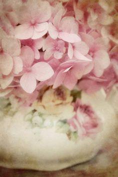 Vintage Sugar Bowl with Pink Hydrangea ~