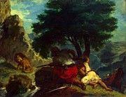 "New artwork for sale! - "" Lion Hunt In Morocco 1854 by Delacroix Eugene "" - http://ift.tt/2zzOphT"