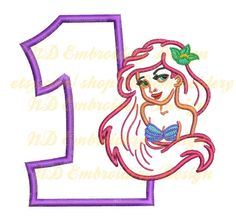 Mermaid 1st birthday embroidery applique design by NDembroidery