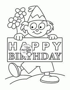 Happy Birthday Card for Boys coloring page for kids
