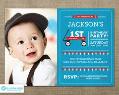 Red Wagon Invitation With Picture - First birthday - Printable Invitation - Red Wagon Party - Boy birthday - Girl birthday - Red - Blue via Etsy