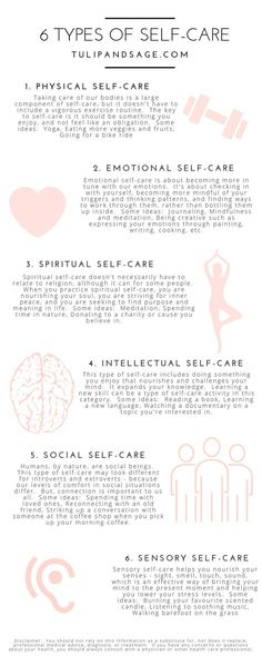 Did you know that there are different types of self-care? Wonder which one you're needing more of? Learning about each type can help you better understand you and your needs. Click through for 6 different types and some ideas for practicing each one. Vie Motivation, Types Of Motivation, Mental Training, Self Care Activities, Anxiety Activities, Mindfulness Activities, Mindfulness Quotes, Care Quotes, Quotes About Self Care