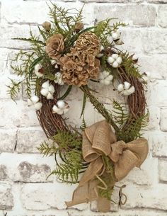 Cotton Wreath, Front Door Wreath, Cotton Boll Wreath, Spring Wreath,Summer Wreath Door,Outdoor Wreath,Grapevine Wreath,Burlap Wreath,Wedding