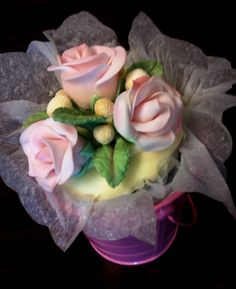 Mother's day jumbo cupcake bouquet in a pail made by 350 Classic Bakeshop in Mamaroneck , NY