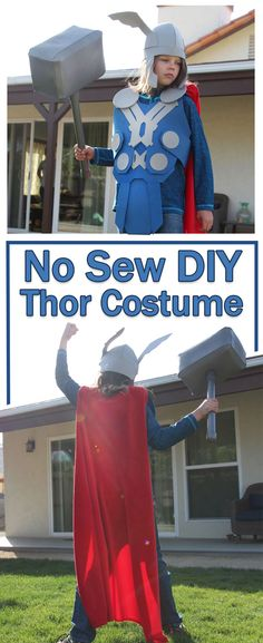 Easy Craft foam costume to celebrate Avengers : Infinity Wars. Make this No Sew DIY Thor Costume. Perfect for Halloween and Disney Bounding! Kids Thor Costume, Female Thor Costume, Superhero Costumes Kids, Avengers Costumes, Kids Costumes Boys, Boy Costumes, Superhero Party, Costume Ideas, Halloween Costumes