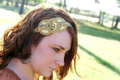 Gold Flapper Headband, Art Deco Beaded Headband for Women Teens, Tie Headwrap. $25.00, via Etsy.
