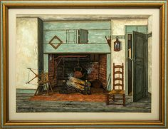 """A Nantucket Fireplace Watercolor & Gouache on Paper, 11 ½"""" x 17"""", sight Signed and dated """"Jas Walter Folger/ Nantucket/1904""""      Picture of interior with brick fireplace and green surround with spinning wheel to left and a brown wood chair to the right by a slightly open green door.   For more information please email us or call 508-228-0960."""