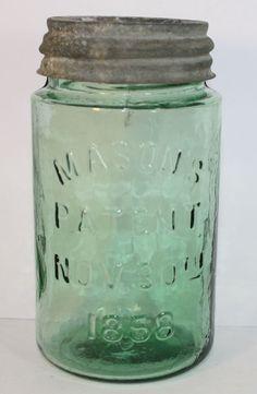 PINT WEIRD LIGHT GREEN MASON'S PATENT NOV. 30TH 1858