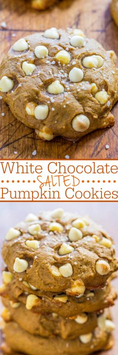 White Chocolate Salted Pumpkin Cookies - Soft, chewy, loads of white chocolate, and so much pumpkin flavor!! A pinch of salt balances the sweet white chocolate for a salty-and-sweet treat!!