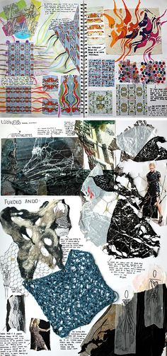 Mixed media sketchbook pages explore a wide range of tactile surfaces and structures. The properties of threads and fabric are investigated thoroughly, using a range of mediums and techniques, resulting in rich, exciting pages. Small, tidy annotation surrounds the pieces, providing thorough analysis without causing distraction from the work itself. - See more at: http://www.studentartguide.com/articles/fashion-design-sketchbooks#sthash.7Fzuot6D.dpuf