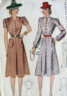 1940s SHIRT DRESS PATTERN 2 NECKLINES, PERKY POCKETS McCALL 3698