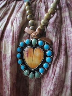 Southwestern turquoise sterling silver heart by slashKnots on Etsy