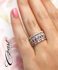 This precious and petite wedding band features fine pave set diamonds across the top. Available in white, yellow, or rose gold, and platinum. Or Rose, Rose Gold, Wedding Bands, Diamonds, Goals, Engagement Rings, Yellow, Top, Jewelry