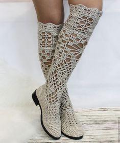 """sapatos feitos à mão. Mestres justas - artesanal. Comprar linho Botas """"Pelagia"""". Handmade. Botas Bege Knit"""