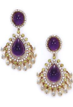 A PAIR OF GEM-SET EAR PENDANTS  Each suspending a pear-shaped cabochon amethyst, within a circular-cut diamond and peridot openwork surround, enhanced by a cultured pearl fringe, from the cabochon amethyst and circular-cut diamond surmount, mounted in gold