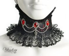 Wine Red Victorian Choker Necklace with red glass by Vilindery