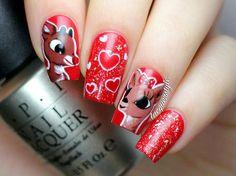 Reindeer Love - Rudolph & Clarice #nailart #rudolph #holidaynails Share your nail art on Bellashoot.com