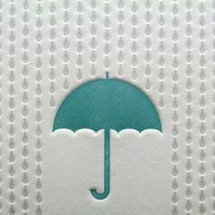 Rainy Day Letterpress Card in Blue and Silver by letterpress