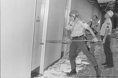 Feb. 9, 1971. Aftermath of Sylmar Earthquake. LASD deputies doing search & rescue work at the Veterans Adminstration Hospital in Sylmar. (Photos by LASD Deputy White. Property of the Los Angeles County Sheriffs Museum)