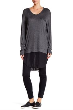 Long Sleeve Contrast and Pocket Tunic