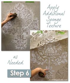 How-to: Easy Sponge Roller Texture and Stencil Shadow-Shift How-to Stencil: Sponging paint through a damask stencil pattern for a lacy, textured effectHow-to Stencil: Sponging paint through a damask stencil pattern for a lacy, textured effect Damask Wall Stencils, Stencil Patterns, Stencil Painting, Stencil Designs, Bird Stencil, Stenciling, Stencil Dresser, Dog Stencil, Painting Walls