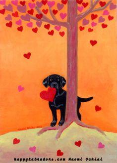 Autumn Color Black Labrador Painting.  Labrador artwork by Naomi Ochiai