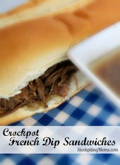 Crockpot French Dip Sandwiches recipe tastes AMAZING! We love this delicious easy dinner recipe and it is a great freezer meal too!