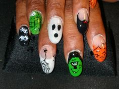 halloween.  acrylic and gel.  hand painted design.  hand painted creation