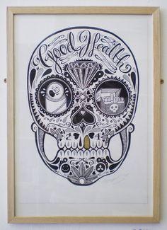 Good Health - Series, Sugar Skulls by Sam Bevington, via Behance