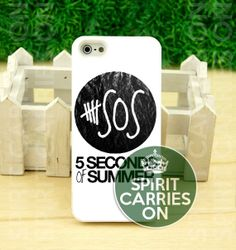 5 Second Of Summer White Logo - iPhone 4/4s/5/5S/5C Case - Samsung Galaxy S3/S4 Case - iPod 4/5 - Plastic/Rubber - Black or White by SPIRITCARRIESON on Etsy