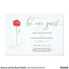 Beauty And The Beast Wedding Invitations, Beauty And The Beast Wedding Theme, Gold Wedding Invitations, Wedding Beauty, Zazzle Invitations, Wedding Favors, Dream Wedding, Wedding Ideas, Wedding Stuff