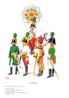 État-major. G à D : officier d'état-major, général de cavalerie, archiduc Charles, cavalerie hongroise et Korps Adjudant.