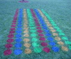 Outdoor Twister game using ground-marking spray paint. Outdoor Twister, Twister Game, Yard Games For Kids, Kids Party Games, Diy Games, Outdoor Games Adults, 9th Birthday Parties, Bowling
