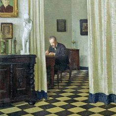 Carl Moll, Self-Portrait in his Study, 1906, oil on canvas,100 × 100cm, Academy of Fine Arts Gallery, Vienna.