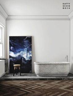 marble tub and abstract indigo painting