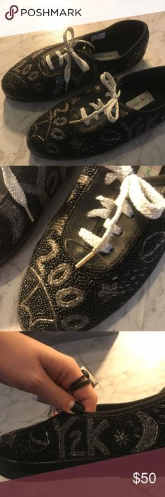 8e04050dc Whimsical Vintage New Year Shoes Y2k. Beaded sneakers. Good condition