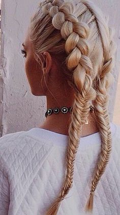 Hey! — Gorgeously Creative Dutch Braids Which End In Fishtails.