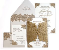 Brown Lace Gold Wedding Invitations With Glamorous Touch