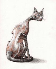 Cello Cat (or Violin or Double Bass - you choose) Illustration by Redmer Hoekstra Find more cats on our website >>> Studios D'art, Metamorphosis Art, Surrealism Drawing, Surealism Art, Surreal Artwork, Ap Studio Art, Photo D Art, Art Et Illustration, Art Academy