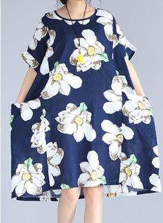 Algodão Linho Floral Manga até a metade do braço Altura do Joelho Informal Vestidos de