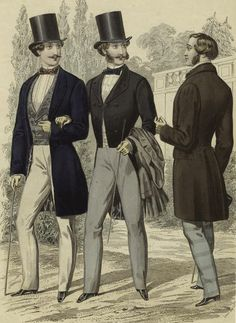1856 advertisement for men's clothing. Again, note the extremely slender outlines the clothing of the era was meant to portray!