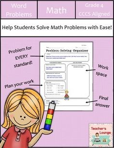 """Problem Solving is no longer a problem with these """"Problem-Solving Organizers"""" that are sure to help your students solve word problems with ease.Included in this packet are Problem-Solving Organizers for EVERY common core standard. Each organizer is clear Problem Solving Activities, Elementary Teacher, Elementary Education, 4th Grade Math, Third Grade, Math Words, Math Word Problems, Common Core Standards, How To Plan"""