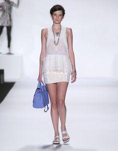 Rebecca Minkoff Look 14: Embroidered Cotton/Silk Ibarra Top in Chalk Floral Insert Twill Titan Mini Skirt in Shell/Chalk
