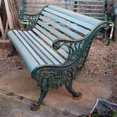 Victorian Cast Iron Garden Bench Painted